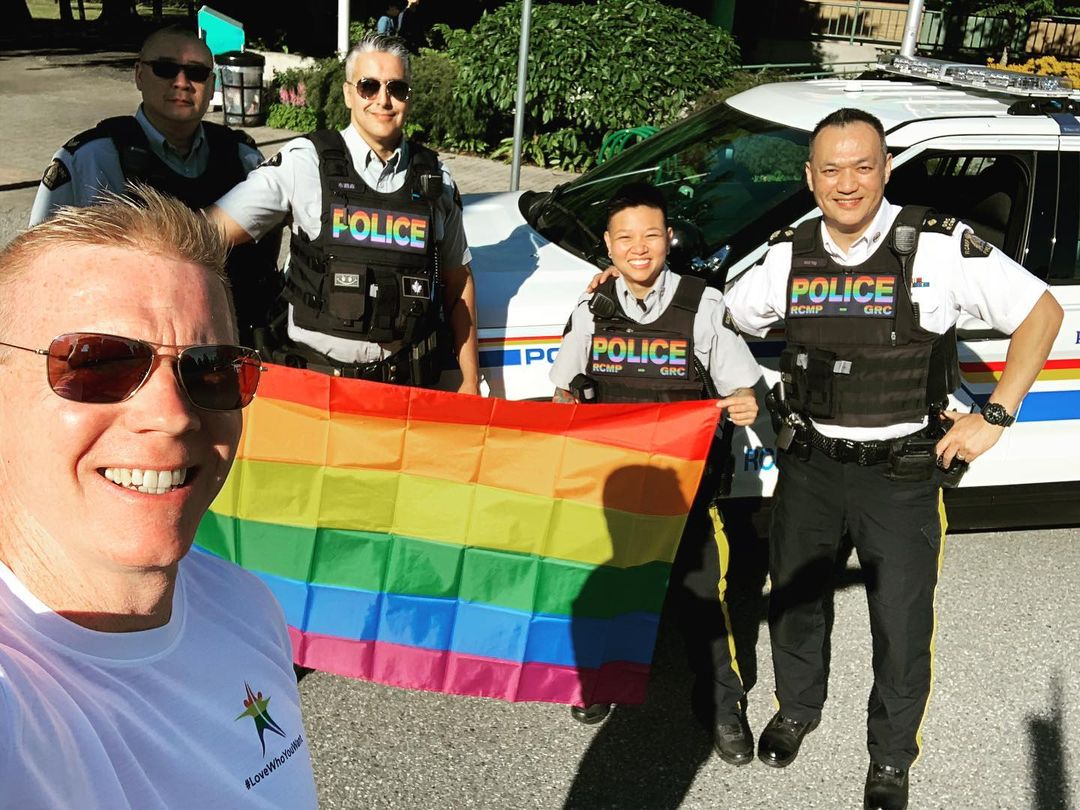 Const. Dale Quiring with Richmond RCMP members at Pride 2020